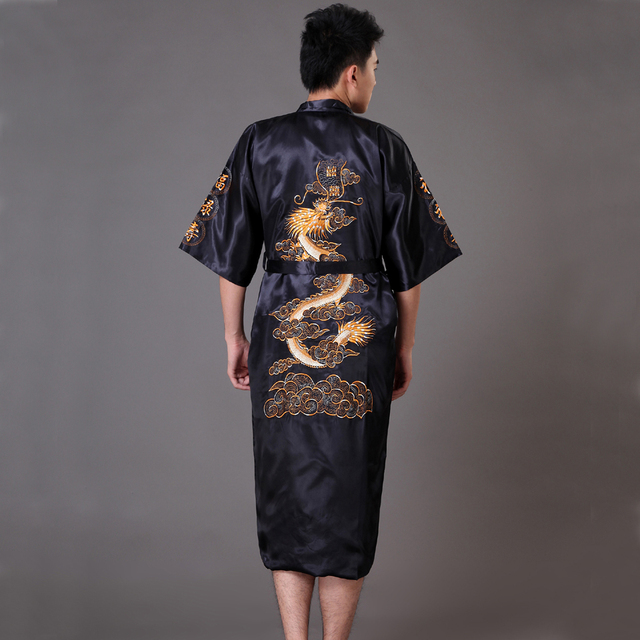 Black Chinese Men's Traditional Embroidery Dragon Robe Nightgown Summer Satin Sleepwear Kimono Gown S M L XL XXL XXXL MP067