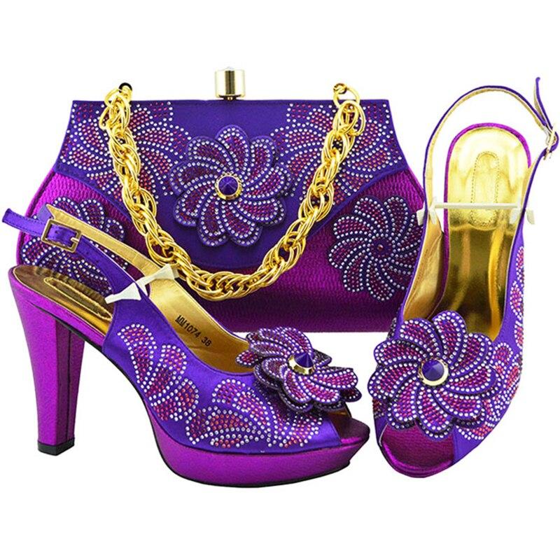 Nouveau Gold De Green Design Mariage Avec purple Pour Sandale Et Assorti royal La red Dames peach Fête Blue Italiennes Chaussures Ensemble lemon Appliques Africains Sac TTpEFqxS