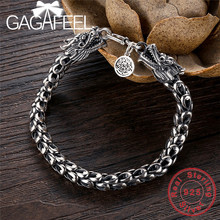 GAGAFEEL Vintage Thai Sterling Silver Bracelet Jewelry Cool Punk Dragon Scales Men Chain For Male 18-22CM Retro Fashion Accesory