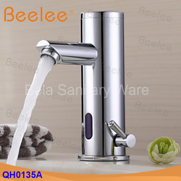 Free Shipping Brass hot and cold automatic water tap infrared sensor faucet mixer tap for bathroom basin (QH0135A) free shipping new discount countertop bathroom automatic sensor faucet for hotel home water saving tap zr6130