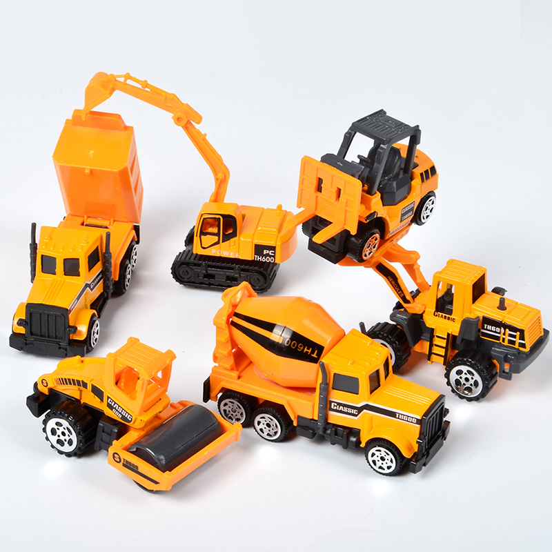 6 Styles/set Mini Diecast Alloy Engineering Car Model Toys Tractor Dump Excavator Truck Classic Toy Vehicles Gift For Boys Child