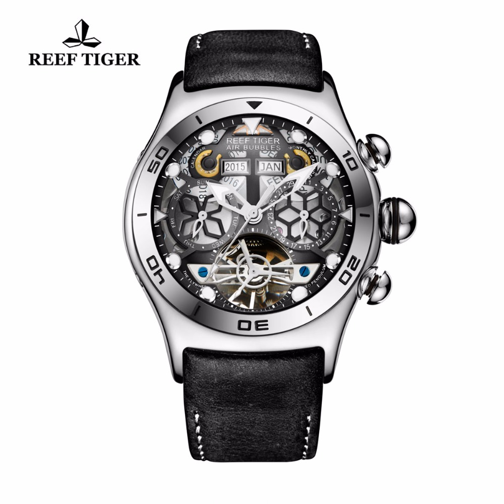 Риф Тигр/RT мужские спортивные Часы Большой Скелет циферблат светящиеся турбийоном год месяц Календари Сталь автоматические часы RGA703