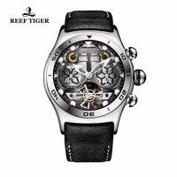 Риф Тигр/RT мужские спортивные часы автоматические часы Скелет Сталь Водонепроницаемый Tourbillon часы с Дата День reloj hombre RGA703
