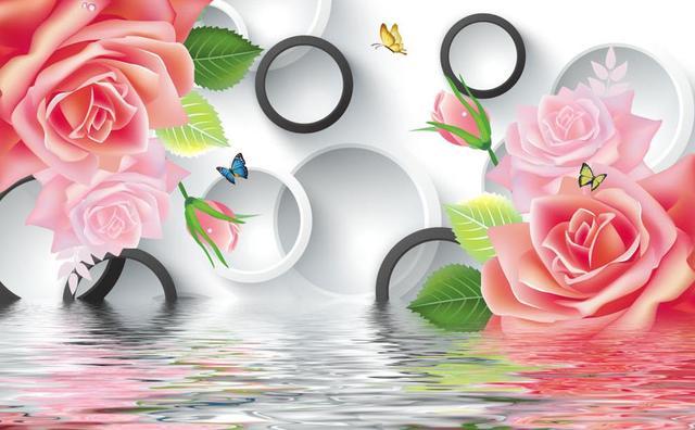 Pink Rose Wallpaper Flower Custom 3d Murals Papel Parede Mural Wall Decoration