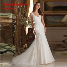 Hot Sale 2017 Newest Fancy Full Appliques Wedding Dresses Tank V-neck Bridal Mermaid Gown Robe De Mariage Custom made Onliine