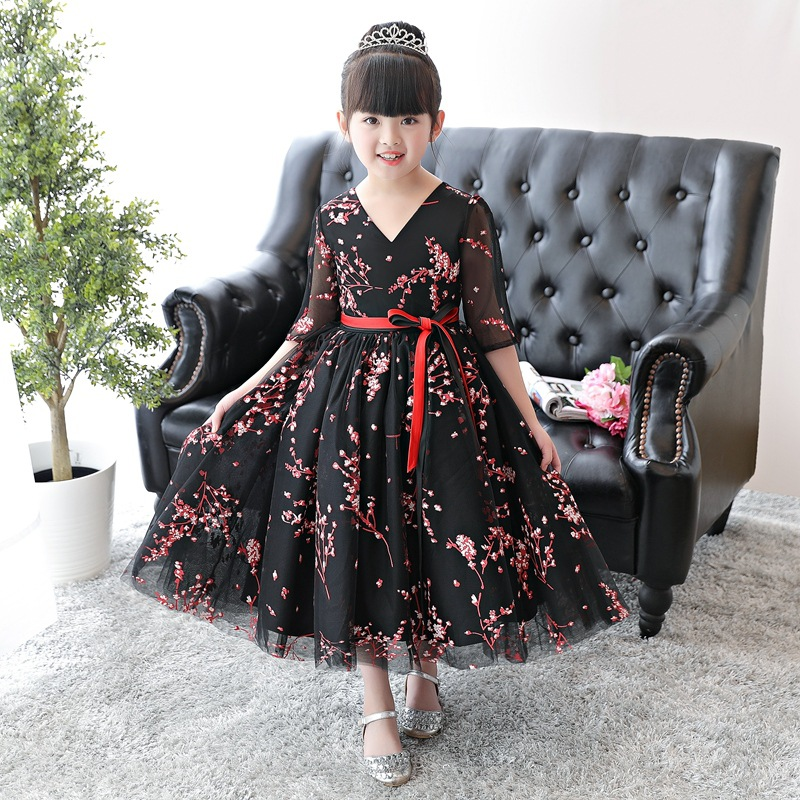 Lace V-neck Children Ball Gown Black Princess Dress Birthday Party Gowns Short Sleeve Mesh Wedding Long Kids Pageant Dresses black v neck floral embroidered mesh bodysuit