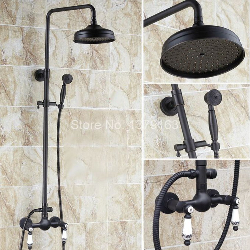 Oscuro negro aceitado de aceite de latón 8 pulgadas de ducha doble cerámica  maneja montado en la pared baño lluvia grifo de la ducha ars517 f1abc30eec5