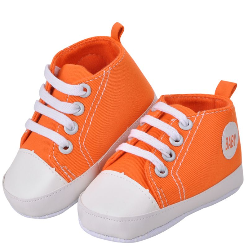 Newborn Kids Toddlers Canvas Cotton Crib Shoes Lace Up Casual Shoes Prewalker First Walkers 11-13 New