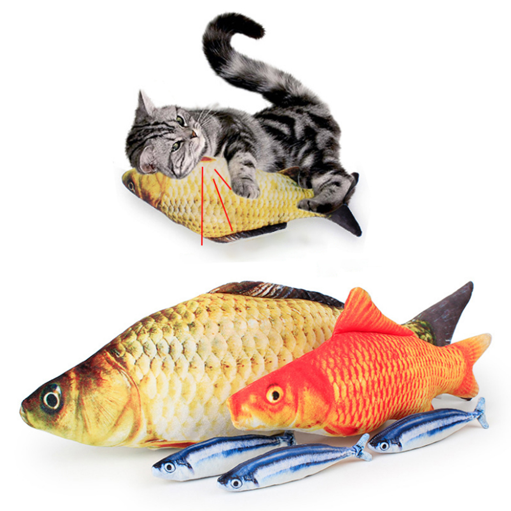 Plush 3D Carp Fish-Shaped Cat Toy Cat Chewing Mint Fish Filled Pillow Doll Toy Vivid Cute Simulation Interactive Training Toy 2