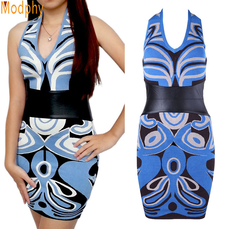 2017 new women sexy v neck backless leather jacquard bandage dress belt sleeveless party prom bodycon