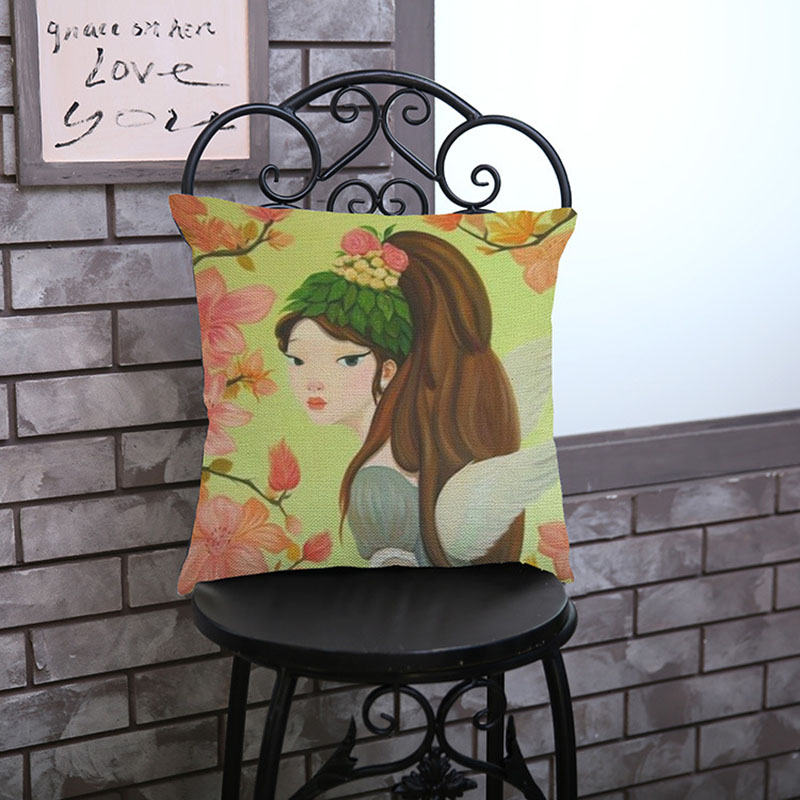 Creative cute cartoon girl printing cotton linen decoration pillowcase hotel Home bed sofa Cushion cover Car gifts waist Pillow