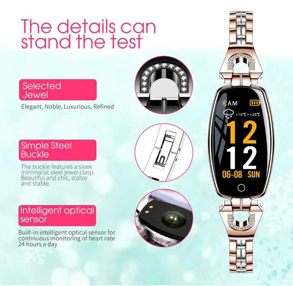 CYUC H8 women smart wristband fitness tracker bracelet Heart Rate Monitor blood pressure oxygen smart band best gift for Lady 5