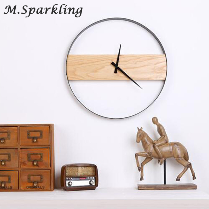 Creative Art Minimalist Wood Wall Clock Luxury Individuality Natural Artistic Style Vogue Round Shape Silently Decor Home Clock