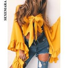ca052e01144d30 BOOFEENAA Yellow Ruffle Flare Sleeve Chiffon Blouse Shirts Women Sexy Crop  Top 2019 Fall Bow Tie