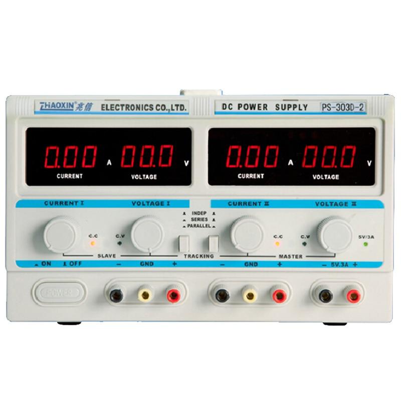 PS-303D-2 Dual DC power supply 30v 3a Digital Power Laboratory Power dc044a tip 2 5mm dc power plugs connectors dc 30v 0 3a for desktop laptop 10pcs