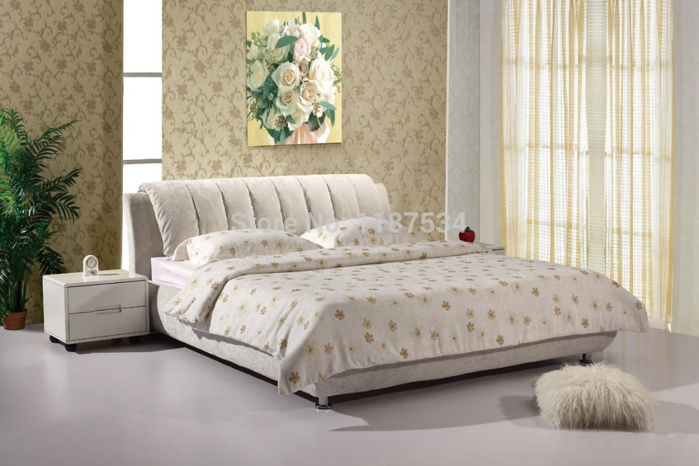 luxury bedroom furniture bed frame king size bed fabric double soft bed E601