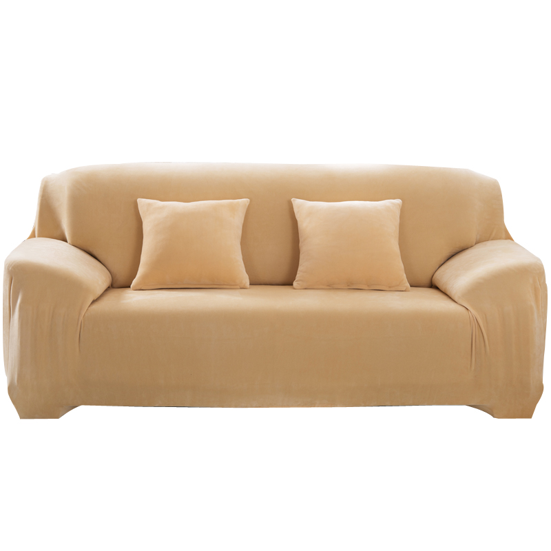 Solid Plush Sofa Cover Sectional Stretch Seat Covers