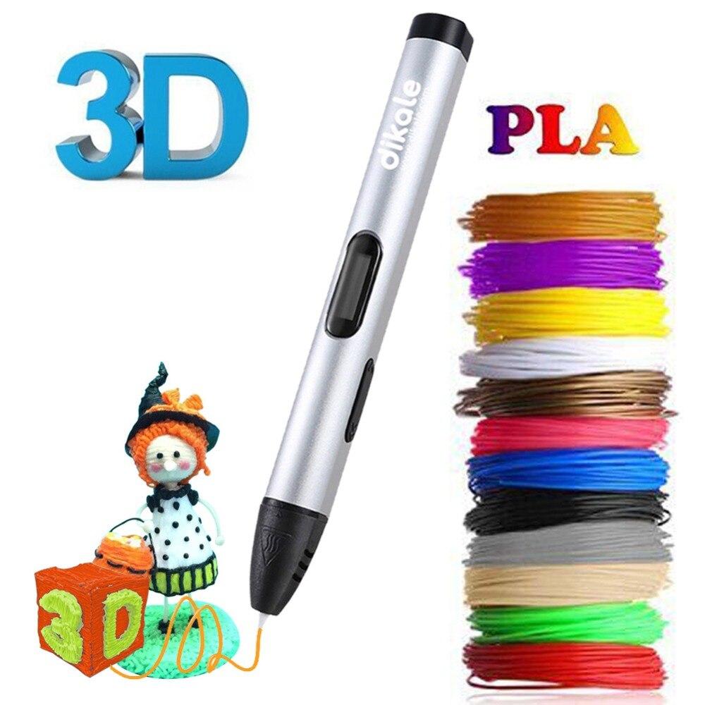 Dikale 3D Pen DIY 3D Printing Pencil PLA Filament Three D Drawing Pens Impresora 3D Imprimant Stift Kid Adult Gift Creative Toys