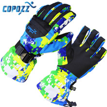 цена на COPOZZ men's ski gloves Snowboard Gloves Snowmobile Motorcycle Winter Skiing  Riding Waterproof Snow Gloves