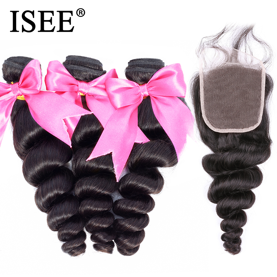Peruvian Loose Wave Bundles With Closure ISEE HAIR Extension 3/4 Bundles With Closure 100% Remy Human Hair Bundles With Closure