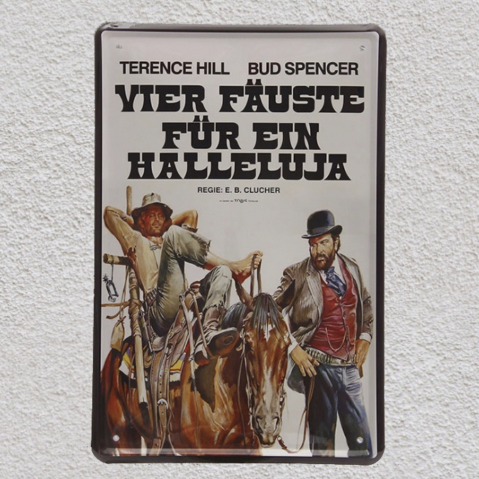 Western movie Vier Fauste Fur Ein Halleluja Tin Plate Sign wall man cave Decoration Art Poster metal vintage home italian movie image