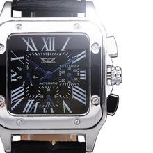 2016 Nuevos Relojes De Lujo Rectángulo Dial Multifunción Relojes de Los Hombres Reloj Mecánico Automático Auto-Viento de Cuero Clásico