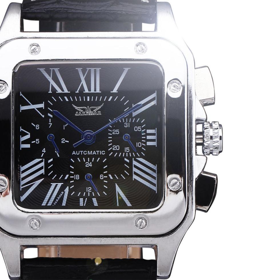 2016 neue Luxus Uhren Rechteck Zifferblatt Multifunktions Uhren Männer Mechanische Automatische Selbst Wind Leder Klassische Armbanduhr