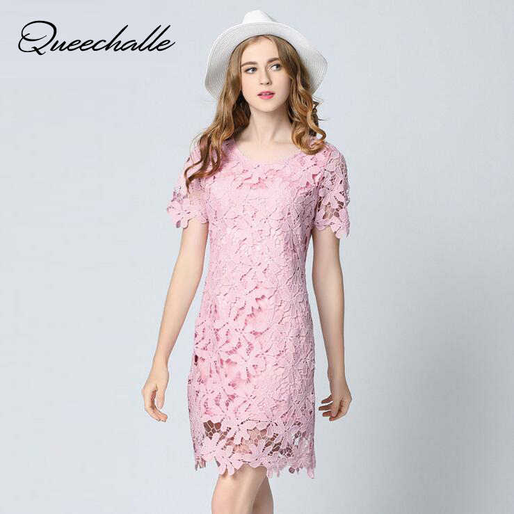 Pink Color Big Size Elegant Lace Dresses 2017 Summer Dress Sexy Hollow Out Short Sleeve Sweet Women Dress 5XL Plus Size Vestidos