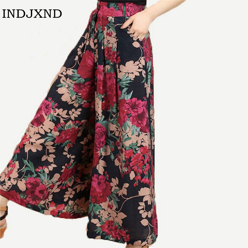 New Calca Feminina Summer   Wide     Leg     Pant   Flower   Pant   Broeken Woman Linen Female Capris Pattern Skirt Trousers Women Culottes K114