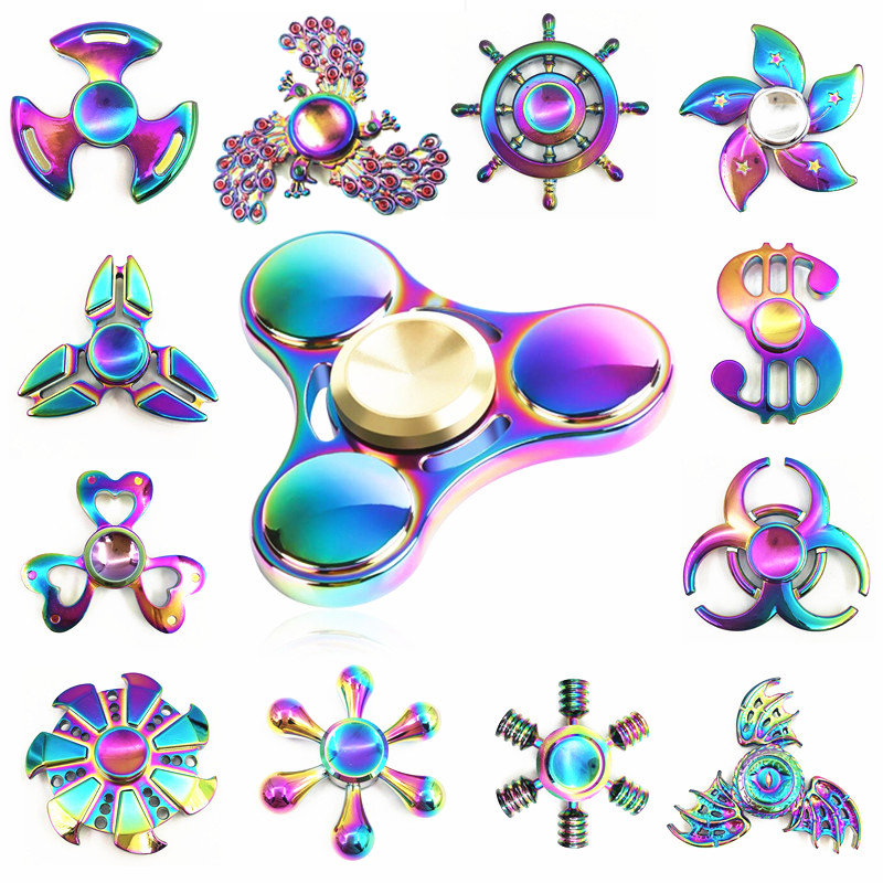 Second Rainbow Hand Fidget Spinner Finger EDC Hand Spinner For Kids Autism ADHD Anxiety Stress Relief Focus Handspinner Toys new fashion fidget spinner for autism and adhd anti anxiety hand spinner edc metal zinc alloy spinner adult kid gift toys