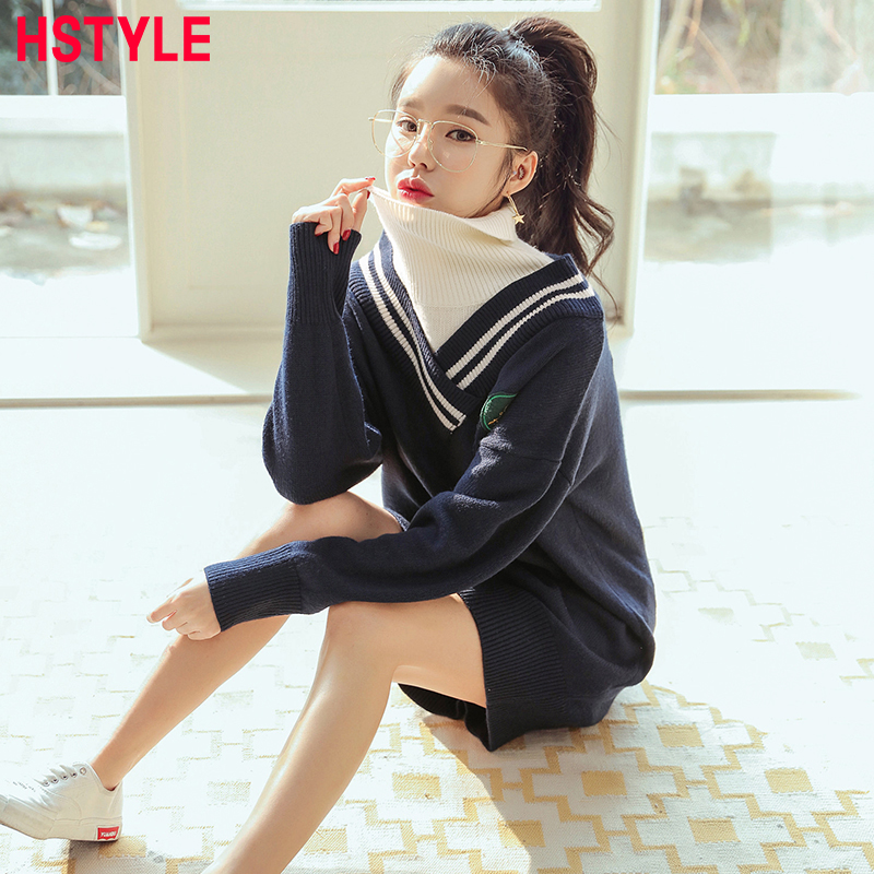 Hstyle New Arrival Spring Casual Dress Fashionable Contrast color Black Dresses Woman Turtleneck Sweater dress blusa feminina