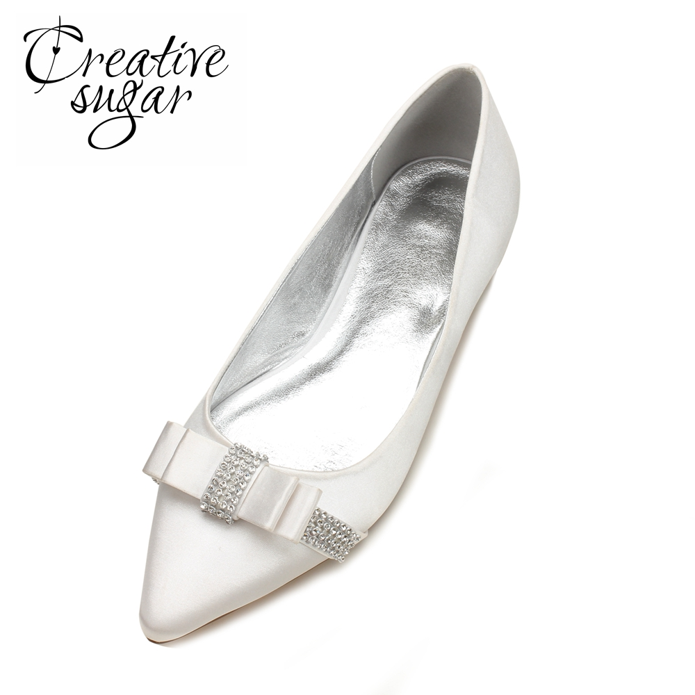 Creativesugar rhinestone bow sweet satin flats for bridal wedding party prom event dress shoes white ivory champagne blue red comfortable satin dress shoes hoof heel bridal wedding party prom evening pumps mid heel red royal blue champagne white ivory