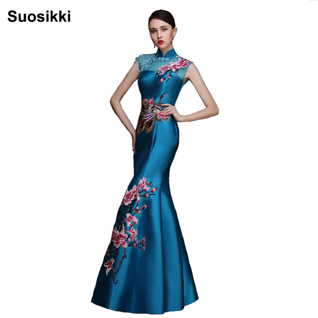 Suosikki New Arrival Seductive sexy Cheongsam Mermaid Evening Dress Long  Formal prom party Gowns Lace Up Back Dress 32af4d254c7f