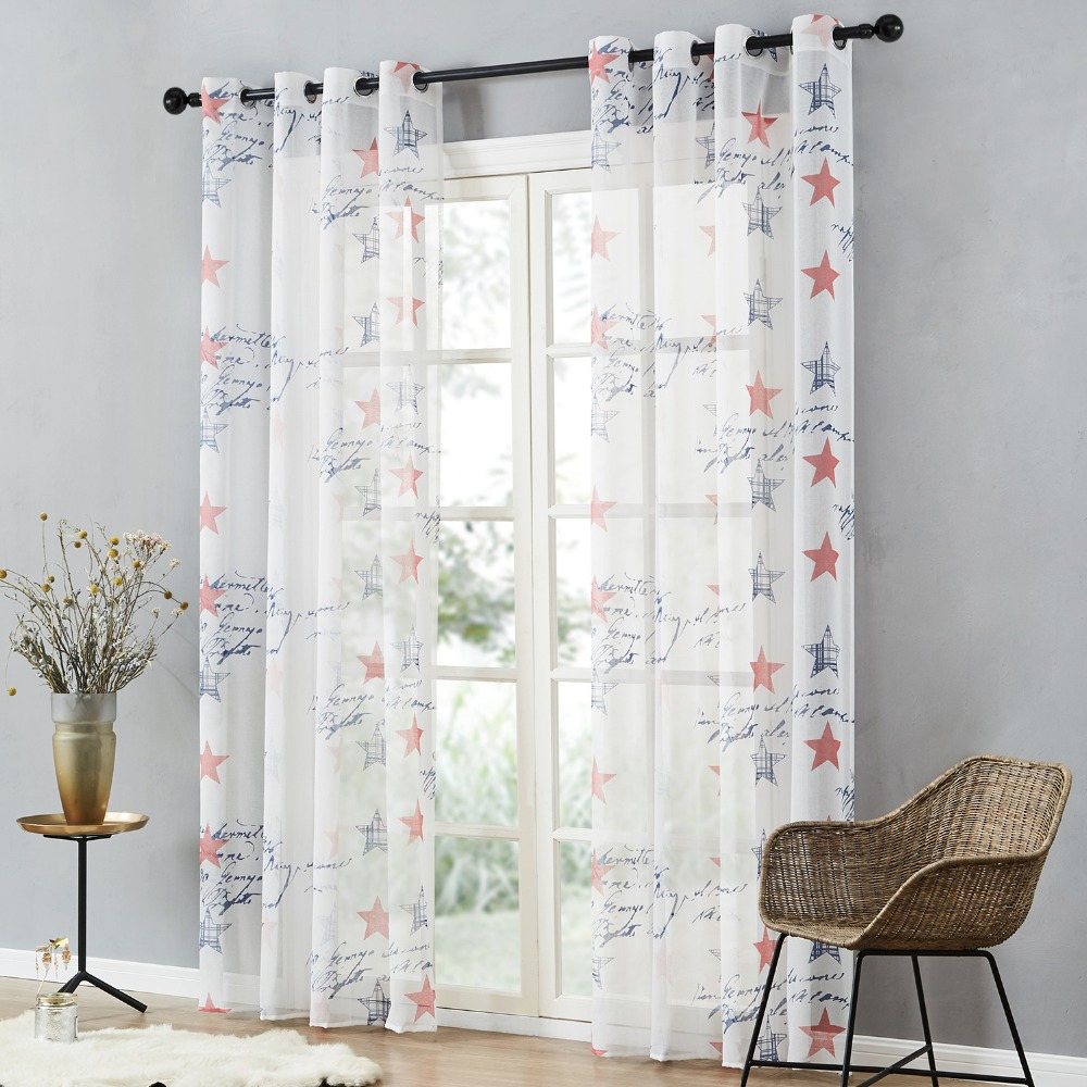 Brand New Children Curtains Blue Red Stars For Kids Baby Room Tulle Window Sheer