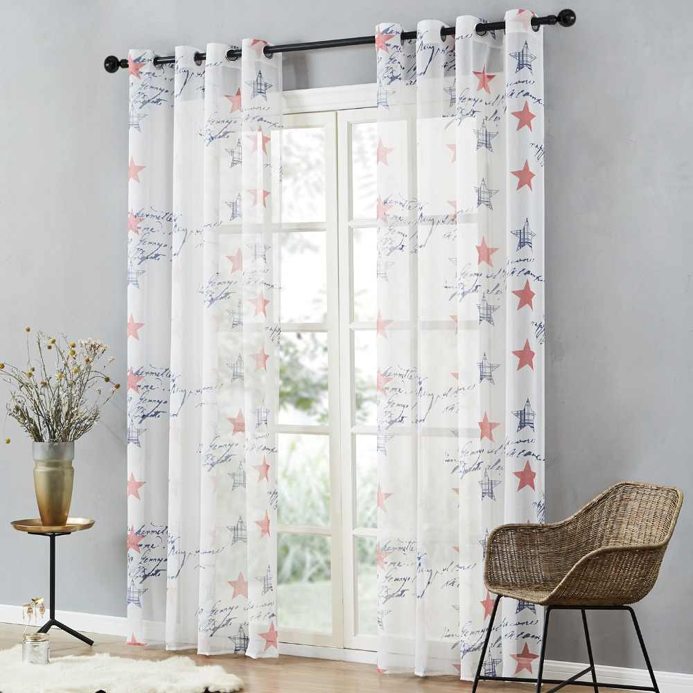 Topfinel Brand New Children Curtains Blue & Red Stars Curtains for Kids Baby Room Curtains Tulle for Window Sheer Curtains