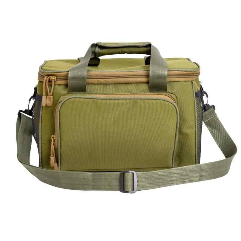 حقيبة صيد سمك متعددة الوظائف مقاوم للماء أكسفورد حقيبة أدوات قماشية ملحق الصيد الطعم حقيبة للنزهة التخييم الجيش الأخضر