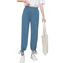 2019 cargo pants women Comfy Harem Pants Mid Waist Elastic Drawstring Solid Color Loose Straight Casual Long Trousers