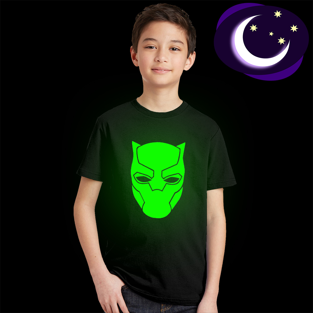 Luminous Black Panther Kids T Shirt Glow In Dark Teens Boys Summer T-shirt Fluorescent Girls Cool Super Hero Tshirt Baby Clothes luminous wonder woman kid girl t shirt glow in dark cartoon print baby clothes child tee short sleeve o neck t shirt fluorescent