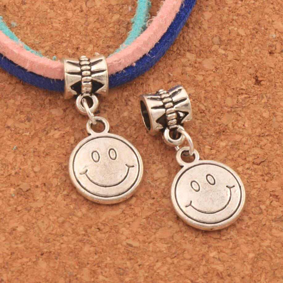 Smile Face Mask Big Hole Beads 26.6x12.2mm 18PCS Antique Silver Dangle Fit European Bracelets Jewelry DIY B357
