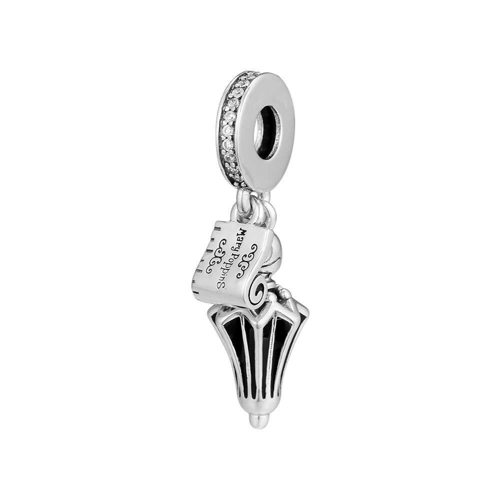 Silver 925 Jewelry Mary Poppins Umbrella Hanging Charm Fits Bracelet Necklace Beads for Jewelry Making kralen perles boncuk