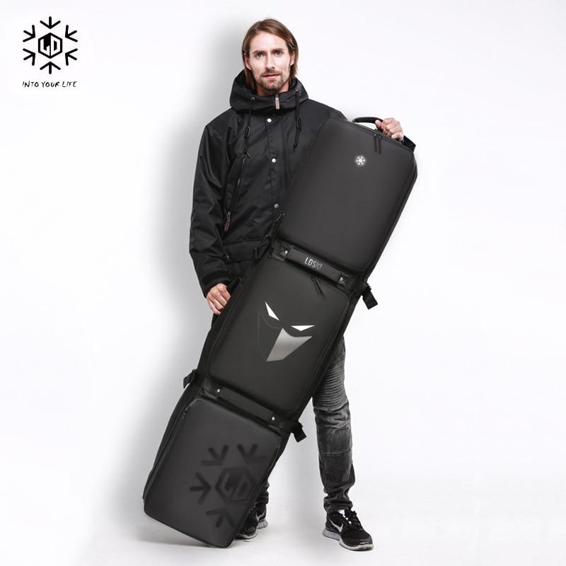 Double-board Snowboard Ski Bag With Wheels 155cm 165cm 175 Large Capacity Waterproof Wearable Skiing Bags Ski Equipment цена