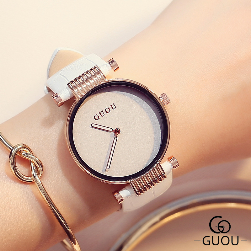 GUOU Luxury Elegant Women's Watches Simple Fashion Watch Women Leather Band Clock saat montre femme relogio feminino mujer gift guou luxury rose gold watch women watches fashion women s watches top brand ladies watch clock saat reloj mujer relogio feminino