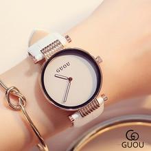 GUOU Роскошные элегантные Для женщин часы простые модные часы Для женщин кожаный ремешок часы saat montre femme relogio feminino mujer подарок