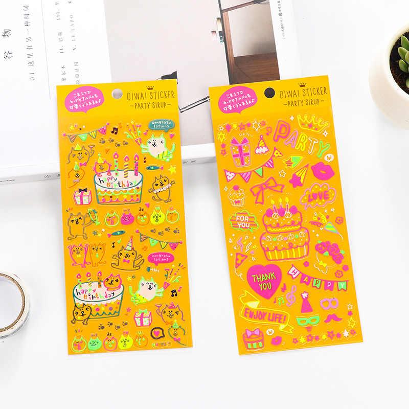 Kawaii oro gracias Scrapbooking pegatinas bala diario lindo hecho a mano decorativo diario Feliz cumpleaños pegatina papelería