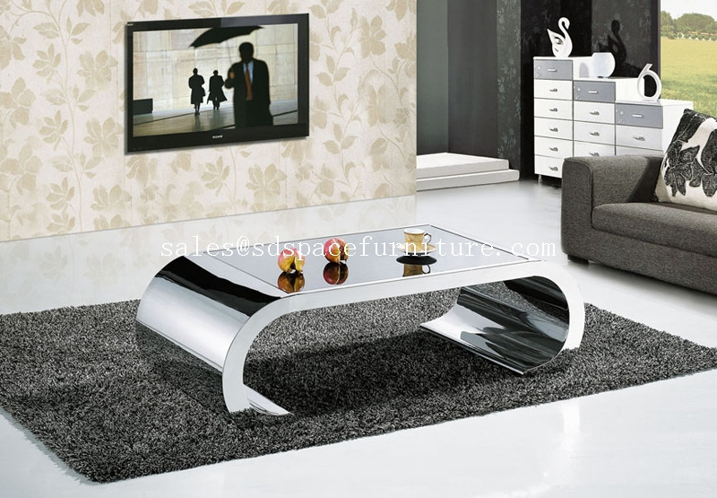 Stainless steel glass center table coffee table for living for Centre tables for living rooms