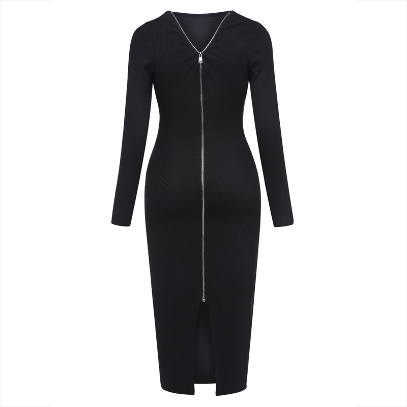 Young17 Autumn Dress Women 2018 Club Black Backless Zipper Office Sexy Clothes Knitted Party Winter Fall Bodycon Ladies Dress