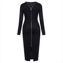 Young17 осеннее платье 2017, женская обувь работа черный спинки молния офиса до середины икры круглым вырезом Работа Платье Осень Bodycon платье