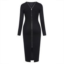 Young17 Autumn Dress Women 2017 Work Black Backless Zipper Office Mid-Calf O-Neck Knitted Work Dress Fall Bodycon Dress