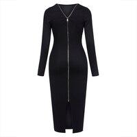 Young17 Autumn Dress Women 2017 Work Black Backless Zipper Office Mid Calf O Neck Knitted Work