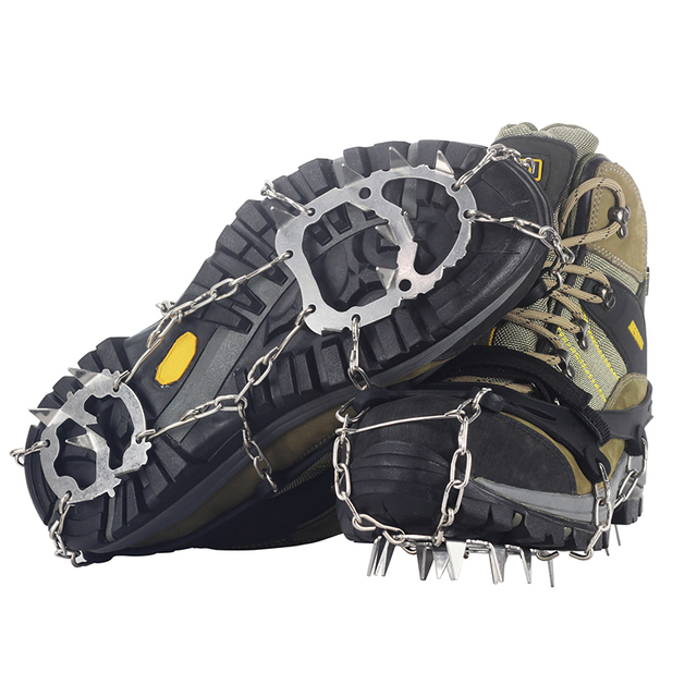 YUEDGE Stainless Steel 18 Teeth Universal Anti Slip Ice Snow Shoe Boot Grips Traction Cleats Crampon Spikes  3